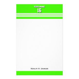 Lime Green White Team Jersey Custom Number Name Custom Stationery