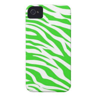 Lime Green White Zebra Stripes Wild Animal Prints iPhone 4 Case