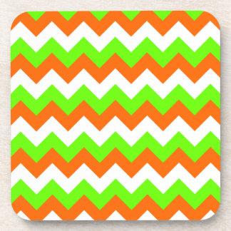 Lime Green White Zigzag Beverage Coasters