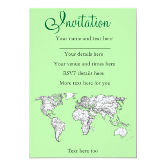 Lime green world map 13 cm x 18 cm invitation card