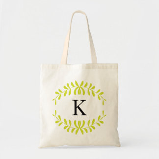 Lime Green Wreath Personalized Monogram Canvas Bag