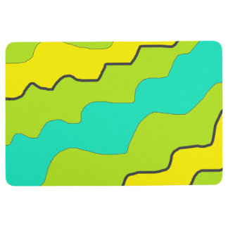 Lime Green, Yellow and Aqua Floor Mat