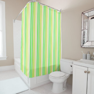 Lime Green, Yellow and White Stripe Shower Curtain