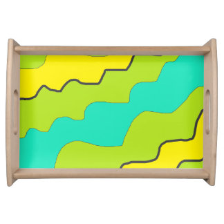 Lime Green, Yellow, Aqua Blue Kitchen Serving Tray