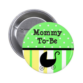 Lime Green & Yellow Mommy to be Baby Shower Button