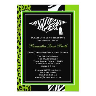 Lime Green Zebra and Leopard Print Graduation 13 Cm X 18 Cm Invitation Card