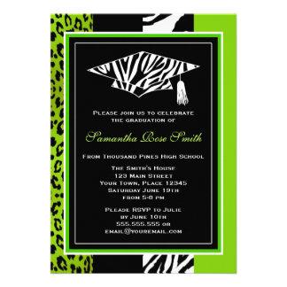 Lime Green Zebra and Leopard Print Graduation Invitation