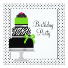 Lime Green Zebra Cake Cupcake Birthday Party Card