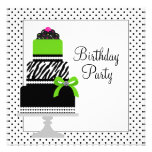Lime Green Zebra Cake Cupcake Birthday Party Personalised Invitations