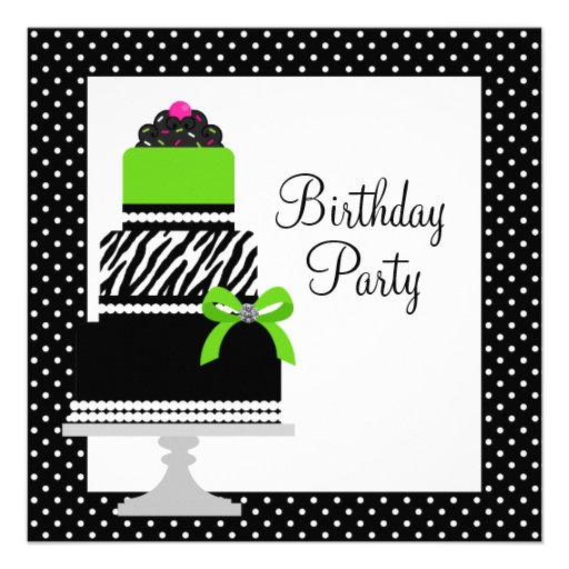 Lime Green Zebra Cake Cupcake Birthday Party Custom Announcements