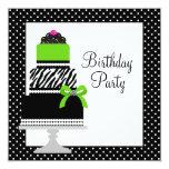 Lime Green Zebra Cake Cupcake Birthday Party 13cm X 13cm Square Invitation Card