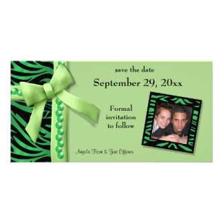 Lime Green Zebra Gems Save The Date Card Photo Cards