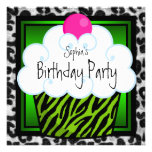 Lime Green Zebra Girls Cupcake Birthday Party Personalised Announcements