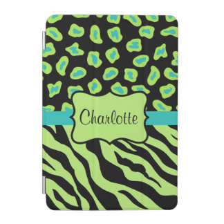 Lime Green Zebra Leopard Skin Name Personalized iPad Mini Cover