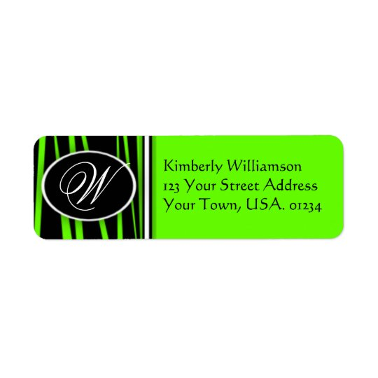 Lime Green Zebra Monogrammed Return Address Labels