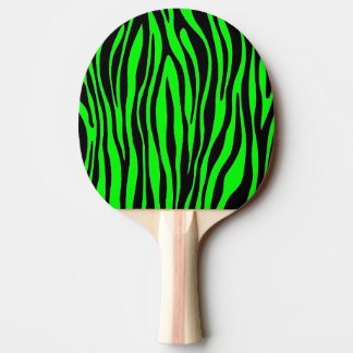 Lime Green Zebra Ping Pong Paddle