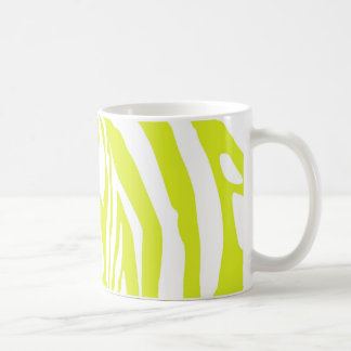 Lime green zebra print coffee mug