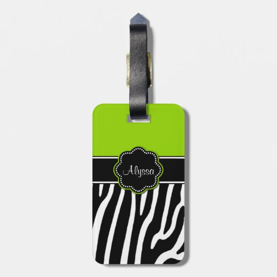 Lime Green Zebra Print Personalised Luggage Tag