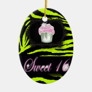 Lime green zebra print Pink Cupcake Sweet Sixteen Ceramic Oval Decoration