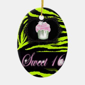 Lime green zebra print Pink Cupcake Sweet Sixteen Christmas Ornament