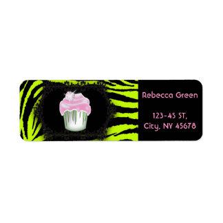 Lime green zebra print Pink Cupcake Sweet Sixteen Return Address Label