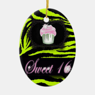 Lime Green Zebra print  Sweet 16  Gift Ornament