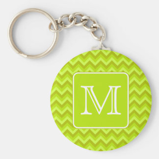 Lime Green Zigzags with Custom Monogram. Basic Round Button Key Ring
