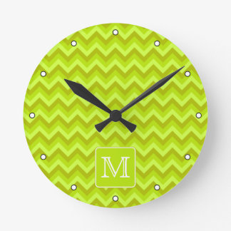 Lime Green Zigzags with Custom Monogram. Round Clock