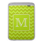 Lime Green Zigzags with Custom Monogram. Sleeve For MacBook Air