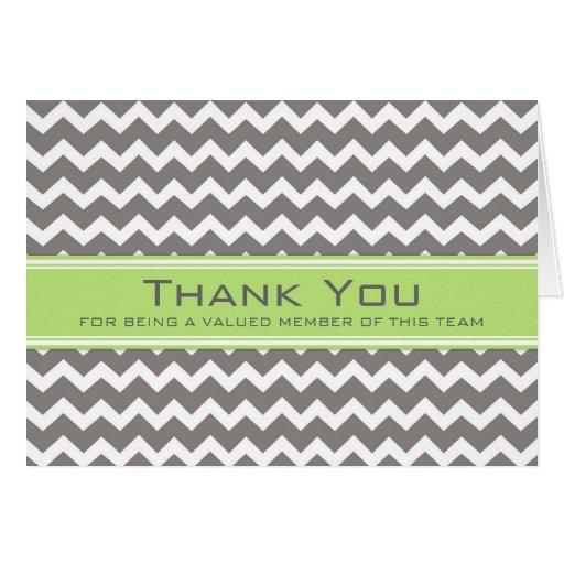 Lime Grey Chevron Employee Appreciation Card