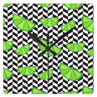 Lime Herringbone Black White Square Wall Clock