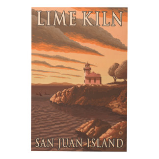 Lime Kiln Lighthouse Vintage Travel Poster