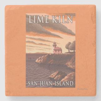 Lime Kiln Lighthouse Vintage Travel Poster Stone Beverage Coaster