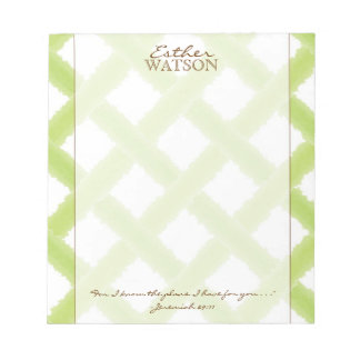 Lime Lattice Notepad with Quote