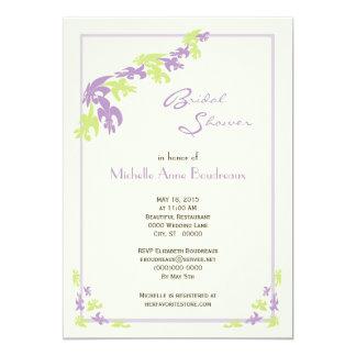 Lime Lavender Fleur de Lis Modern Bridal Shower 13 Cm X 18 Cm Invitation Card