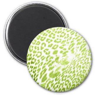 Lime Leopard Print 6 Cm Round Magnet