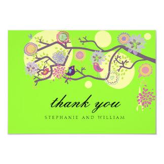 Lime Love Birds Wedding Thank You Card 9 Cm X 13 Cm Invitation Card