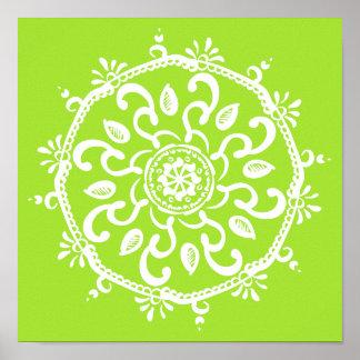 Lime Mandala Poster