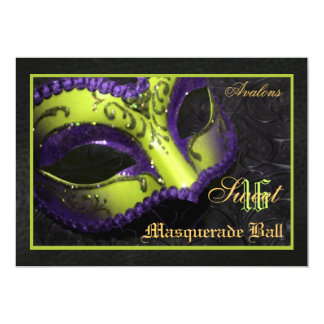 Lime  Mask Masquerade Sweet 16 Party Invitation