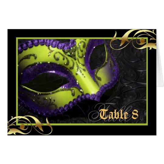 Lime Masquerade Mask Table Number Card