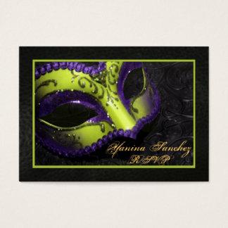 Lime Masquerade RSVP Business Cards