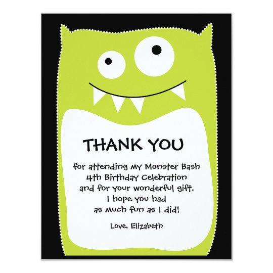 Lime Monster Bash Thank You Card (Flat)