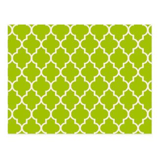 Lime Moroccan Quatrefoil Pattern Postcard