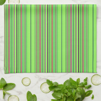 Lime Multicolored Stripes Tea Towel
