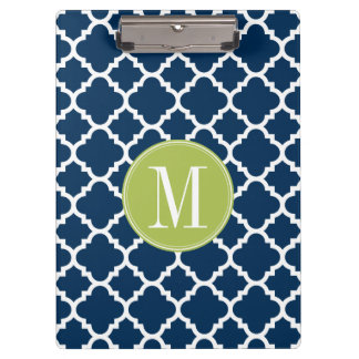 Lime & Navy Geometric Pattern Custom Monogram Clipboard
