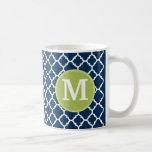 Lime & Navy Geometric Pattern Custom Monogram Basic White Mug