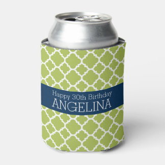 Lime & Navy Quatrefoil Girly Happy Birthday Party Can Cooler