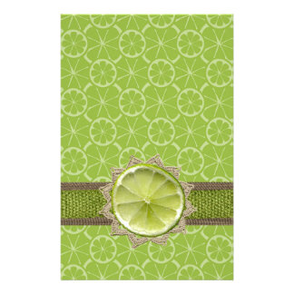 Lime on Dollie, Burlap Trim, Lime Patterns Stationery Paper