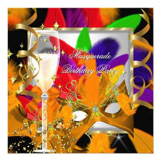 Lime Orange Purple Red Masquerade Party Birthday Invitations