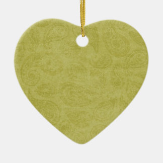 Lime Paisley Double-Sided Heart Ceramic Christmas Ornament